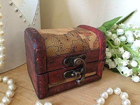 Amazoncom Mini Wooden Storage Box Pirate Treasure Chest Coins - Antique map box
