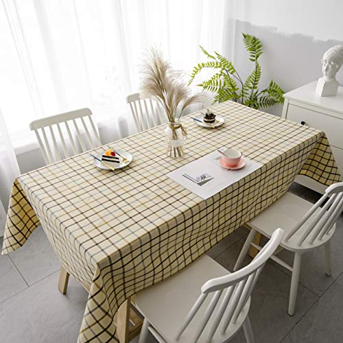 Aquazolax Gridlines Plaid Pattern Tablecloth Rectangle Textured Linen Blend Fabric 6ft Long Table Cover for Parties, 54