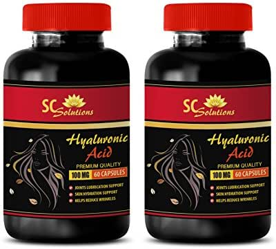 Anti Aging Capsules for face - HYALURONIC Acid Pills 100 mg - hyaluronic Acid Supplements for Eyes - 2 Bottles 120 Capsules