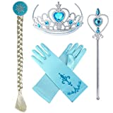 Yosbabe Princess Elsa Dress up Party Accessories Blue Favors 4 Pcs Gifts Set - Gloves Tiara Wig and Wand