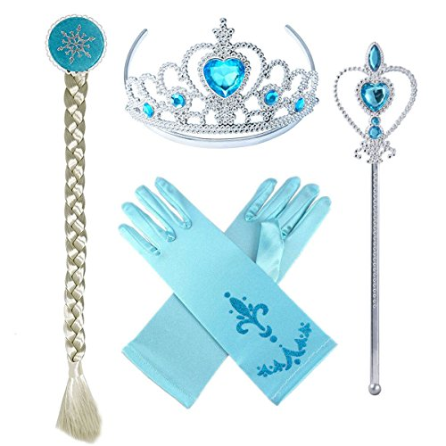 Princess Elsa Dress up Party Accessories Blue Favors 4 Pcs Gifts Set – Gloves Tiara Wig and Wand