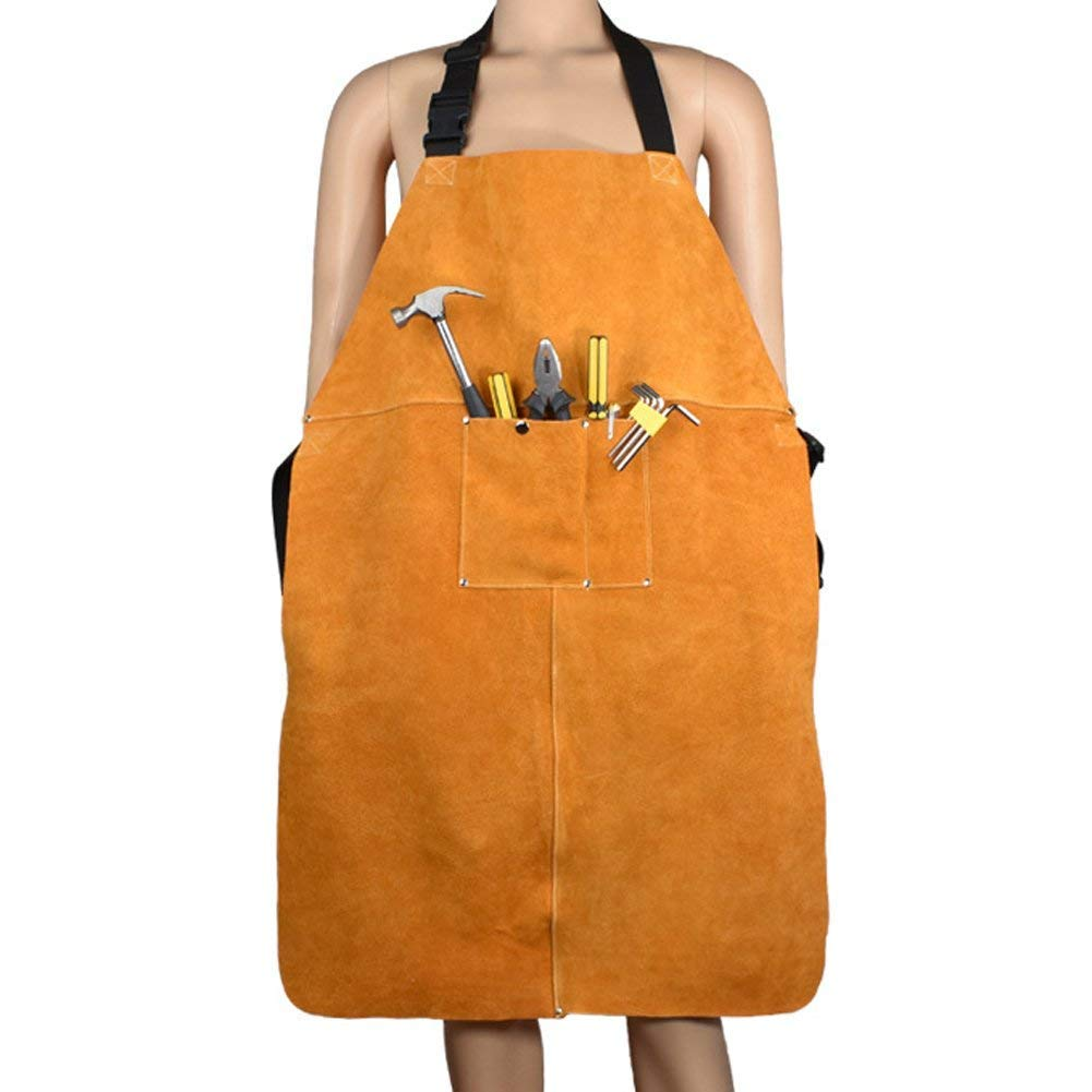 Leather Welding Apron Blacksmith Apron, Heavy Duty Flame Retardant Welder Work Apron, Unisex Adjustable Work Shop Protective Clothing, Carpentry, Torch Work, Roofing, Woodworking DHWQ03