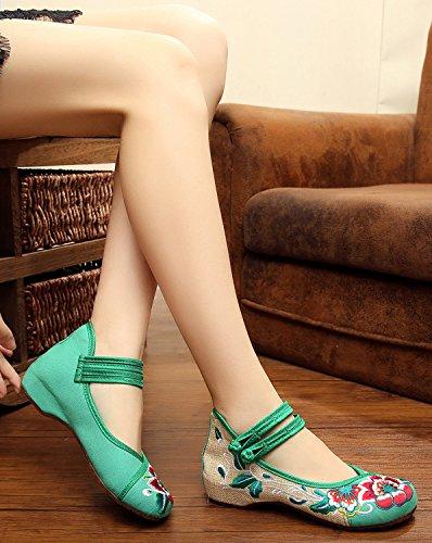 Schuhe und Frauen Keilabsatz in Jane Mary tiefem Riemen Eisgrau mit für doppeltem g5zxq7