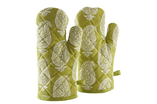 Solimo 100% Cotton Padded Oven Gloves, Paisley (Pack of 2, Green)