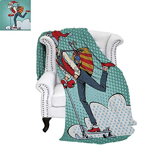 Indiesmall blanketPop Art Scenery with Hipster Santa Claus on Scooter with Gift Bag Christmas Themethin Blanket 80