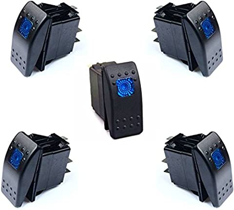 DCFlat 12v 20 Amp Waterproof Blue LED On/off Boat Marine Rocker Switch with Light ( 5 x Blue LED ) (3 - Blue Light Marina