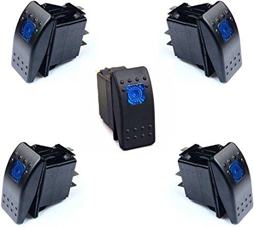 DCFlat 3 Pin 12V 20 Amp Waterproof Blue LED On/off Boat Marine Rocker Switch with Light ( 5 x Blue LED ) - Blue Light Marina