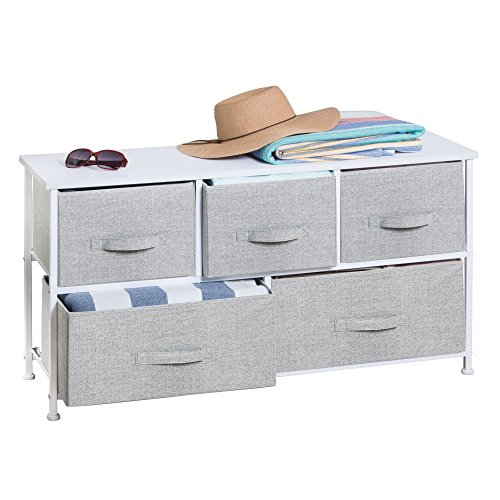 mDesign Extra Wide Dresser Storage Tower - Sturdy Steel Frame, Wood Top, Easy Pull Fabric Bins - Organizer Unit Bedroom, Hallway, Entryway, Closets - Textured Print - 5 Drawers, Gray/White - Studio Corner Glass Shelf