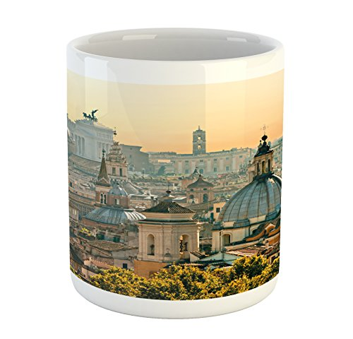 Ambesonne City Mug, View of Rome from Castel Sant'Angelo Italy Historical Landmark Vatican, Ceramic Coffee Mug Cup for Water Tea Drinks, 11 oz, Salmon Ivory