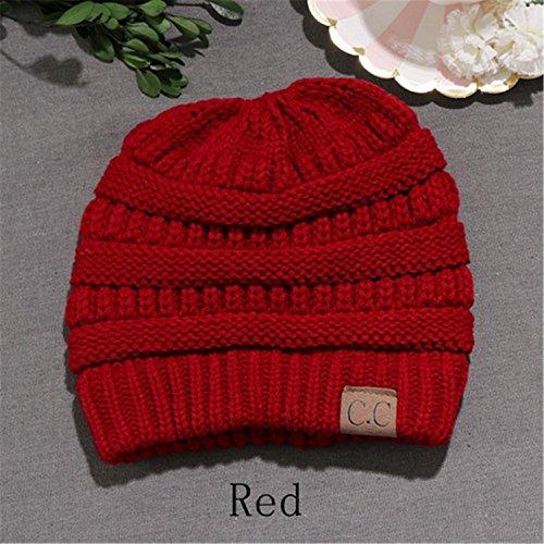 coleta cola Diadema de aire alta nbsp;– Cable uso orejeras HMILYDYK suave sombrero en interiores libre punto nbsp;Beanie rojo al Bun Messy Cap para xvAqPYPE