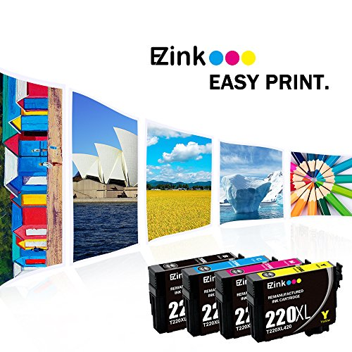 E-Z Ink (TM) Remanufactured Ink Cartridge Replacement for Epson 220 XL 220XL T220XL to use with WF-2760 WF-2750 WF-2630 WF-2650 WF-2660 XP-320 XP-420 XP-424(2 Black, 1 Cyan, 1 Magenta, 1 Yellow)5Pack