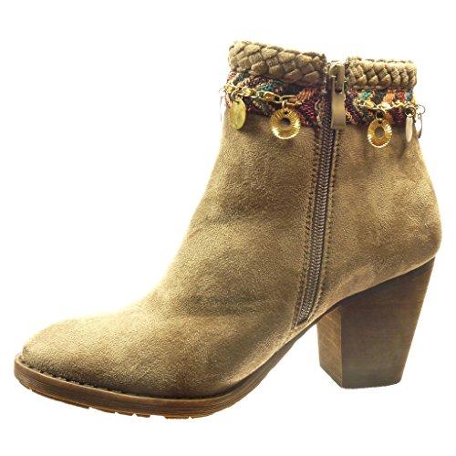 Angkorly - Chaussure Mode Bottine low boots femme chaïnes métallique boucle Talon haut bloc 7.5 CM - Khaki