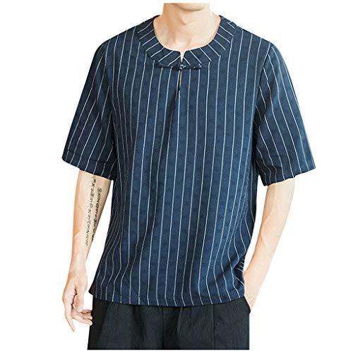 (ANJUNIE Mens Long Sleeve Vintage Henley Shirt Cotton Linen Yoga Loose Fit Tops(2-Navy,XXXXXL))
