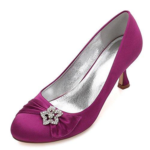 Donna Applicazioni Personalizzate da high Purple Raso da con Tondo da Cristallo e shoes F17061 Scarpe Sposa Punta 30 Scarpe Sposa Rotonda da Scarpe Ballo Elegant in di CTqHC