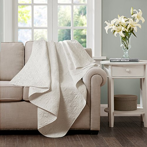 Madison Park Quebec Luxury Oversized Quilted Throw Ivory 60x70    Premium Soft Cozy Microfiber With Cotton Fill For Bed, Couch or Sofa