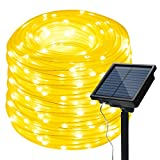 IMAGE 8 Modes Solar Rope String Lights, 13m/42.6Foot 100LED,2400mah High Capacity Battery Starry Fairy Lights for Indoor/Outdoor Decorations/Garden/Patio/Party-Warm White