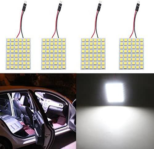 GrandviewTM Super White Energy-saving 5050 48-SMD LED Panel Dome Light Auto Car Interior Reading Plate Light Roof Ceiling Interior Wired Lamp +T10 BA9S Festoon Adapter-4PCS