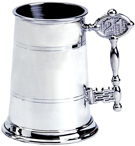 21st Birthday Key Handle 1pt Pewter Tankard Plain Can Be Engraved ()