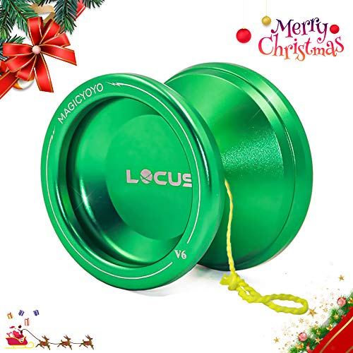 MAGICYOYO Responsive V6 Locus Aluminum YoYo Star Logo Kids Beginner Learner Yoyo Bag, Yoyo Glove 5 Spinning Strings (Green)