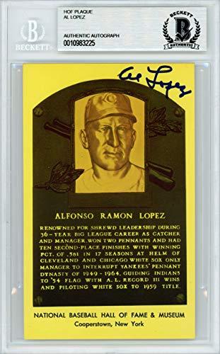 Al Lopez Signed Auto HOF Plaque Postcard Chicago White Sox - Beckett Authentic
