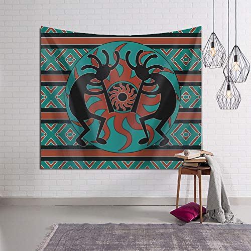 - Teal Southwest Kokopelli Native American Indian Decorative Tapestry Tapestries Wall Hanging Art Decoration for Bedroom/Living Room/Dorm 50 x 60 Inch