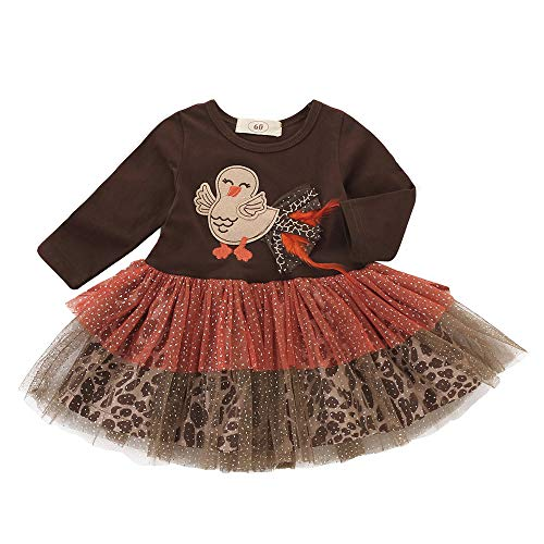 Baby Girls Dresses,Infant Toddler Turkey Thanksgiving Day Gauze Tutu Dress Outfits Clothes (Brown, Recommended Size:24M/Label Size:100)