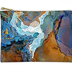 Makeup Bag Or Pencil Case With Abstract Art In Blue And Brown Bridge 1550 Shower Curtain
