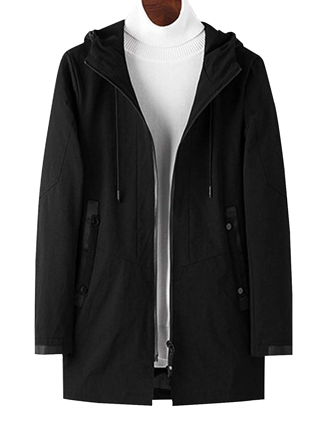 D.B.M Mens Fashion Slim Long Windproof Warm Long-Sleeved Cotton Hooded Jacket