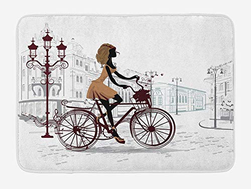 "Teen Room Bath Mat Young Girl in Paris Streets with Bicycle French Style Display Plush Bathroom Decor Mat with Non Slip Backing Chestnut and Pale Brown Pearl 75""L×69""W"