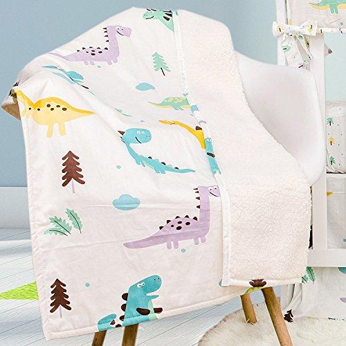 (Brandream Dinosaur Baby Toddler Blanket Quilt 100% Hypoallergenic Cotton Fleece Throw Blanket)