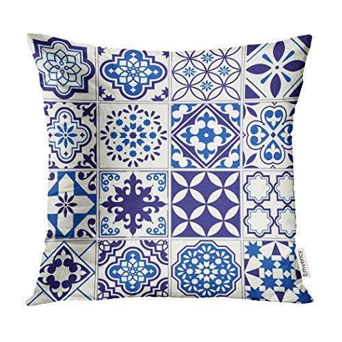 Emvency Decorative Throw Pillow Covers Moroccan Pattern Lisbon Floral Mosaic Mediterranean Navy Blue Mexican Pillowcase Cushion Cover Case Protectors Sofa 20x20 Inches Double Sided