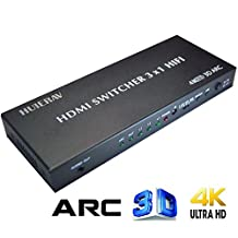 HUIERAV HDMI Switch 3X1 with Audio HDMI Audio Extractor | HDMI ARC Extractor | with Optical TOSLINK SPDIF Coaxial L/R Audio Out | 4Kx2K/30Hz, 1080P, 3D