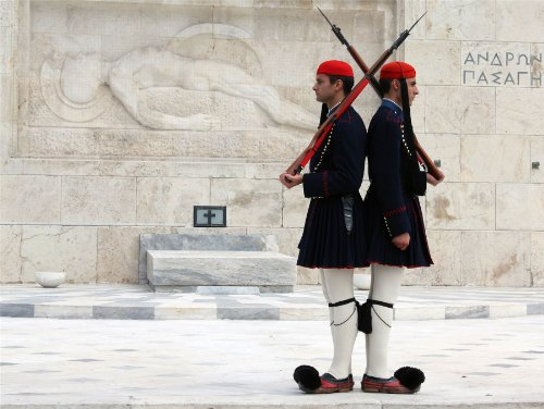 Evzone Guards (12 X 16 INCH / 30 X 40 CMS EVZONES OR TSOLIADES PALACE GUARDS ATHENS GREECE PHOTO FINE ART PRINT POSTER BMP470B)