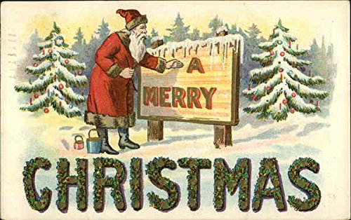 Santa Painting Sign A Merry... Santa Claus Original Vintage Postcard