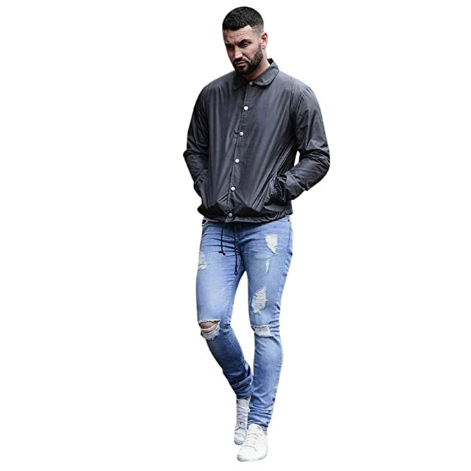 Pantalones de Hombre Súper Delgado Tramo Mezclilla Biker Jeans ...