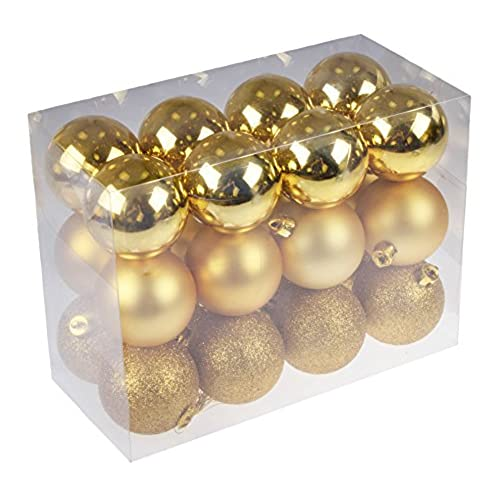 Shatterproof Christmas Tree Ornaments by Clever Creations | Large 60mm Gold  Variety Pack Christmas Decor | 24 Piece Set Perfect for Christmas  Decorations