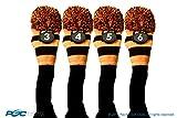 Majek #3, 4, 5, & 6 Hybrid Combo Pack Rescue Utility Black & Orange Golf Headcover Knit Pom Pom Retro Classic Vintage Head Cover