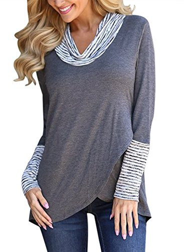 Sibylla Women Cowl Neck Striped Long Sleeve Asymmetric Hem Wrap Tunic Tops T Shirts (Striped Neck Wrap)