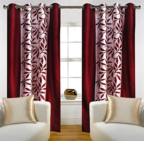 Home Candy Leaves 2 Piece Polyester Long Door Curtain Set – 108″ x 48 , Maroon