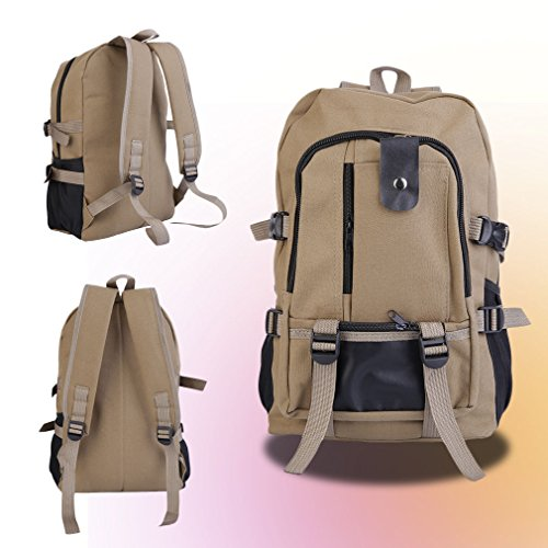 [Vintage Travel Canvas Backpack Rucksack School Outdoor Satchel Hiking Bag Briefcase ,Dark Khaki] (Allen Edmonds Classic Belt)