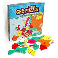 GeoToys - GeoPuzzle Europe - Educational Kid Toys for Boys and Girls, 58 Piece Geography Jigsaw Puzzle, Jumbo Size Kids Puzzle - Ages 4 and up