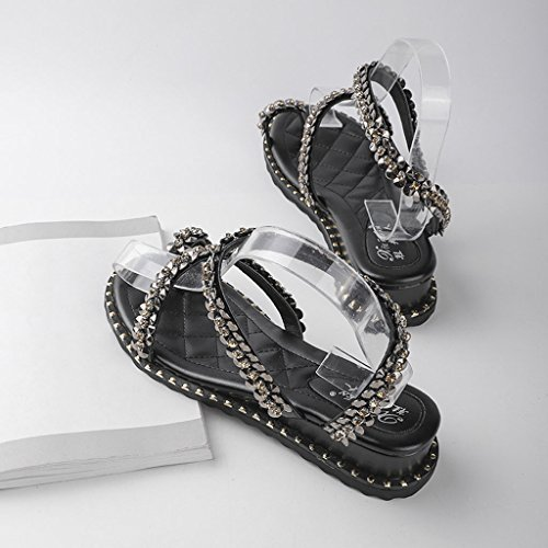 Sandals Rhinestone Female Slope Heel Summer Open-Toe Student Roman Shoes Black IbFh6EW