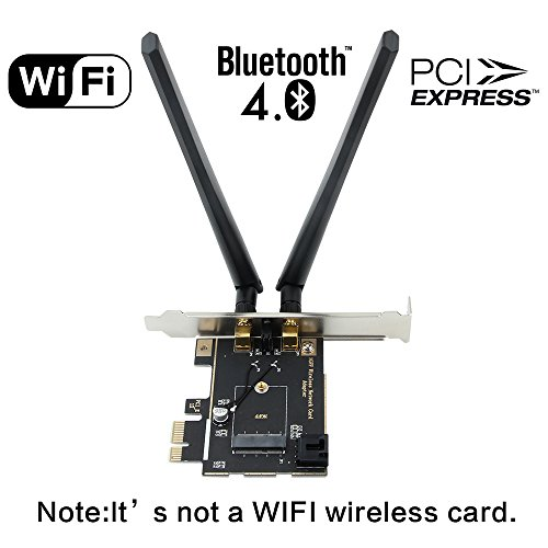 Fenvi Desktop Wireless Network M.2(NGFF) Wireless Card to PCI-e 1X Adapter Converter(Not Including Networking card) Compact Intel 7260 8260 3160 9260 9265 NGFF M.2 ect Windows 7, 8, 10