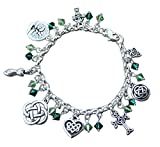 Silver Plated Deluxe Celtic Knots Charm Bracelet, Heavy Sterling Silver Chain, Green Crystals- Size XL (8.5 Inches (Extra Large))