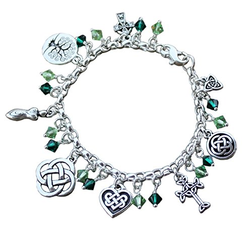 (Silver Plated Deluxe Celtic Knots Charm Bracelet, Heavy Sterling Silver Chain, Green Crystals- Size M (7.5 Inches (Medium)))