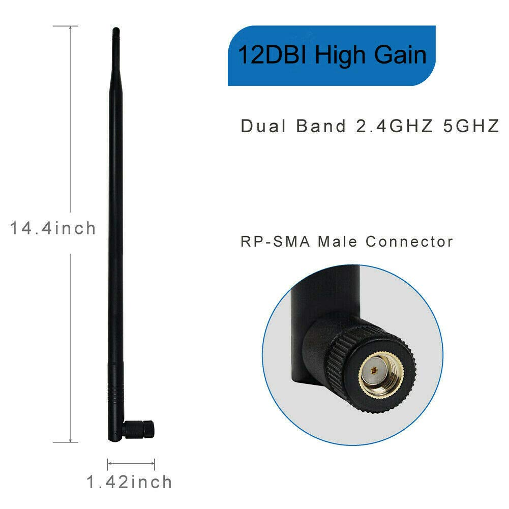 Shumo 12DBi RP-SMA 2.4GHz 5GHZ High Gain WiFi Router Antenna for IP Camera