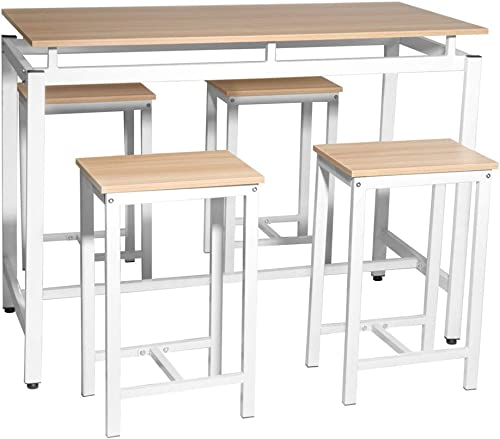 SSLine 5-Piece Pub Table Dining Set Wooden Kitchen Counter Height Table and Chair Set Rectangular Dining Room Bar Table