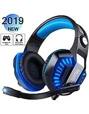 Cuffie da Gaming Muzili GameK2 Gaming Headsets LED Luce,Cuffie Audio Surround da Gaming,Regolatore di Volume Cuffie Over-Ear Cuscino Confortevole Design Fascia di Protezione per la Pelle-Blu