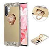 LCHDA Gold Diamond Soft Clear TPU Case with Ring Kickstand Luxury Glitter Sparkle Rhinestone Makeup Mirror Cover with Finger Holder Grip for Samsung Galaxy Note 10+