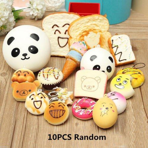 [10PCS Jumbo Medium Mini Random Squishy Soft Bread/Cake/Panda/Buns Phones Straps] (Baby Silly Shark Costumes)
